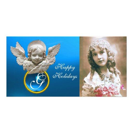 FLORENTINE RENAISSANCE ANGEL Sapphire Gem Monogram Customized Photo Card