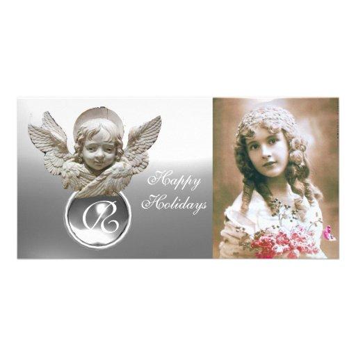 FLORENTINE RENAISSANCE ANGEL White Gem Monogram Personalized Photo Card