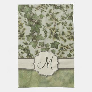 Florentine Watercolor Ivy with Monogram Kitchen Towel