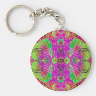 Florescent Abstract Basic Round Button Keychain