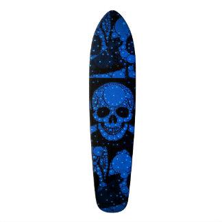 Florescent Blue Green Skull Bling Skate Board