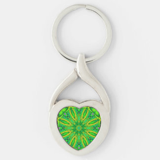 Florescent Green Abstract Silver-Colored Twisted Heart Keychain