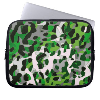 Florescent Green Grey Cheetah Abstract Laptop Sleeve