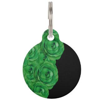 Florescent Green Roses Pet Tag