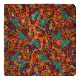 Florescent Orange Abstract Cheetah Trivet