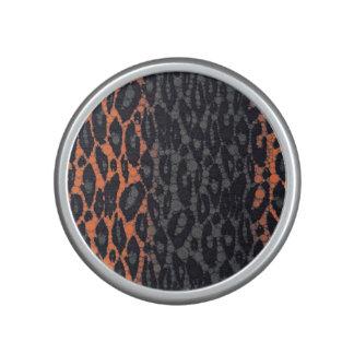 Florescent Orange Black Leopard Speaker