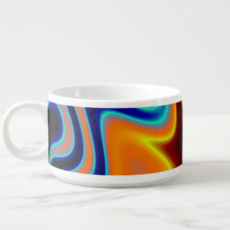 Florescent Orange Blue Trippy Abstract Chili Bowl