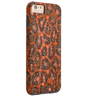 Florescent Orange Grey Cheetah Tough iPhone 6 Plus Case