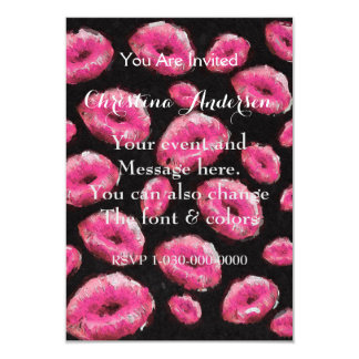 """Florescent Pink Abstract Lips 3.5"""" X 5"""" Invitation Card"""