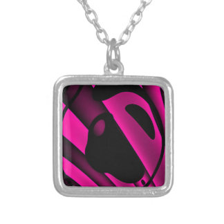 Florescent Pink Black Abstract Square Pendant Necklace