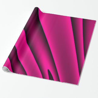 Florescent Pink Black Stripe Pattern Wrapping Paper