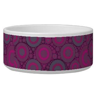 Florescent Pink Bluish Circle Abstract Dog Bowls