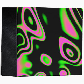 Florescent Pink Green Abstract Binder