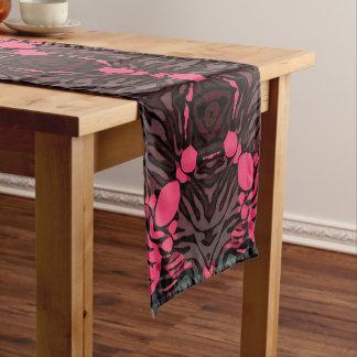 Florescent Pink Grey Zebra Short Table Runner