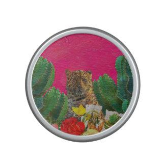Florescent Pink Tiger Floral Oil Brush Bluetooth Speaker