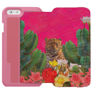 Florescent Pink Tiger Floral Oil Brush Incipio Watson™ iPhone 6 Wallet Case