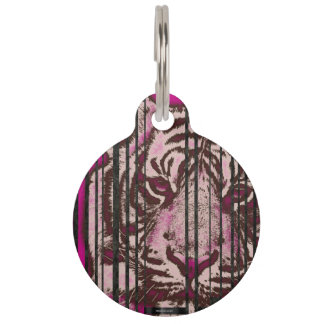Florescent Pink Tiger Pet Name Tags
