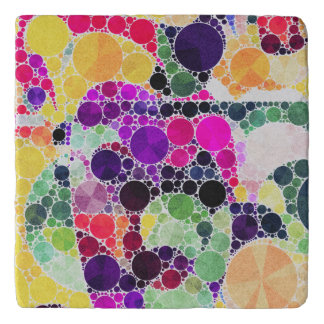Florescent Yellow Pink Abstract Trivet