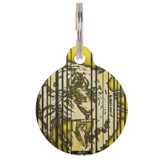 Florescent Yellow Tiger Pet ID Tags