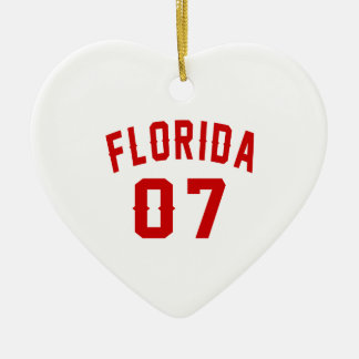 Florida 07 Birthday Designs Ceramic Heart Ornament