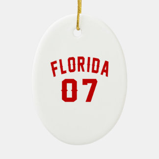 Florida 07 Birthday Designs Ceramic Oval Ornament