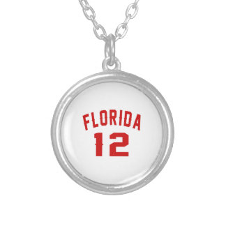 Florida 12 Birthday Designs Silver Plated Necklace
