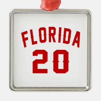 Florida 20 Birthday Designs Silver-Colored Square Ornament