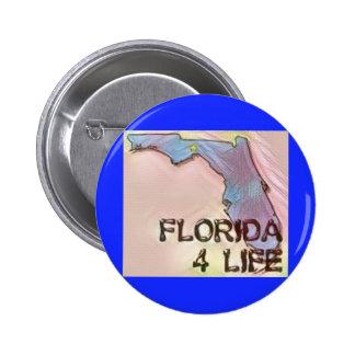 """Florida 4 Life"" State Map Pride Design 2 Inch Round Button"