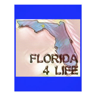 """Florida 4 Life"" State Map Pride Design Letterhead Template"
