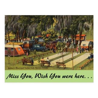 Florida, Bartow, Municipal Trailer Park Postcard