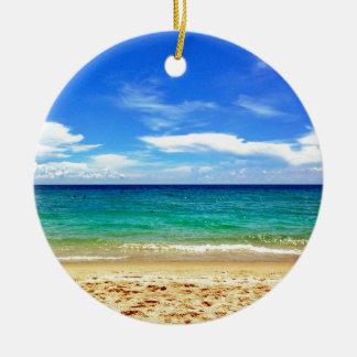 Florida Beach Round Ceramic Ornament