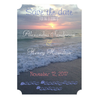 "Florida Beach Sunset Save the Date 5"" X 7"" Invitation Card"