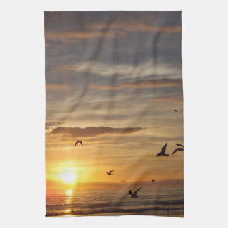 Florida Beach Sunset with Birds Kitchen Towel