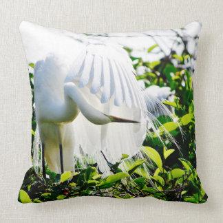 Florida Bird - White Egret - Throw Pillow