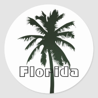 Florida, Black Palm Tree Classic Round Sticker