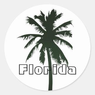 Florida, Black Palm Tree Round Sticker