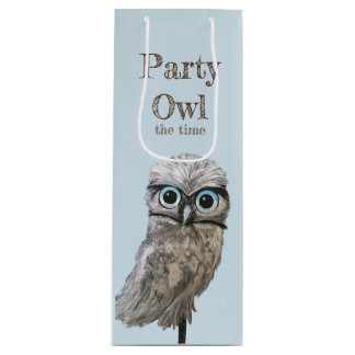 Florida Burrowing Owl Painting Wine Gift Bag