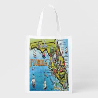 Florida Cartoon Map Market Totes