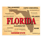 Florida Cities And Towns State Pride Map Postcard