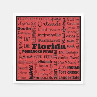 Florida cities typography napkins paper napkins