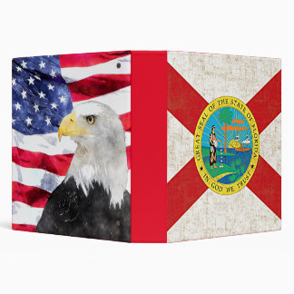 FLORIDA FLAG AGED/AMERICAN FLAG & EAGLE 3 RING BINDERS