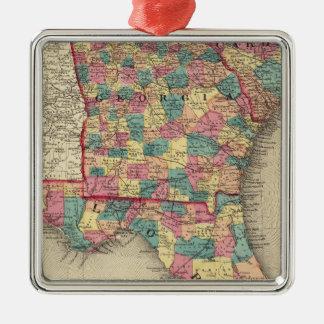 Florida, Georgia, and South Carolina 2 Metal Ornament
