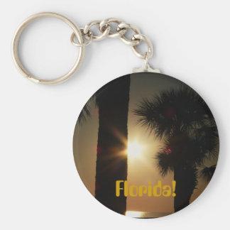 Florida! Gilf sunset through palm trees Basic Round Button Keychain
