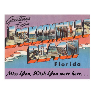 Florida, Greetings from Jacksonville Beach Postcard