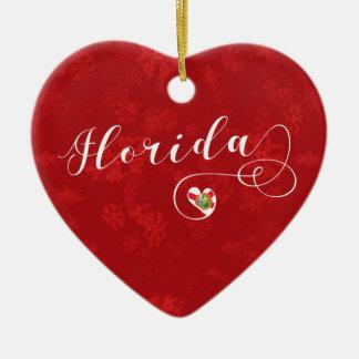 Florida Heart, Christmas Tree Ornament, Floridian Ceramic Ornament