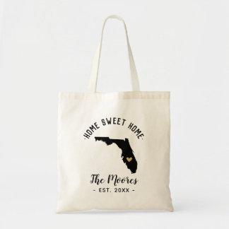 Florida Home Sweet Home Family Monogram Tote Bag