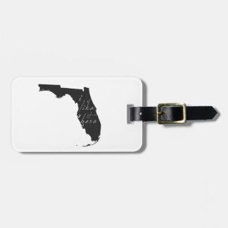 Florida I Like It Here State Silhouette Black Luggage Tag