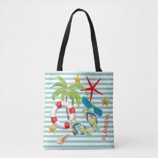 Florida Images on Teal Stripes Tote Bag