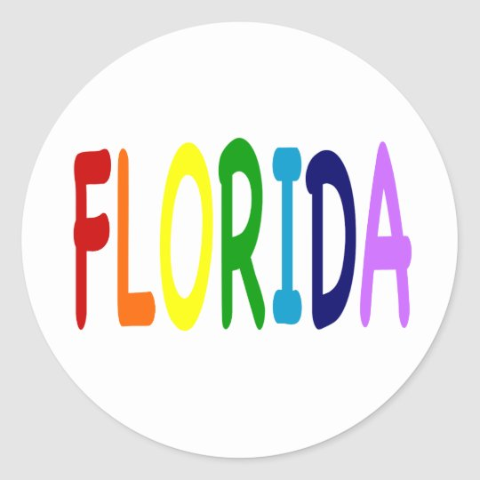 FLORIDA in a  rainbow of colours Classic Round Sticker