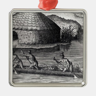 Florida Indians Storing their Crops Silver-Colored Square Ornament